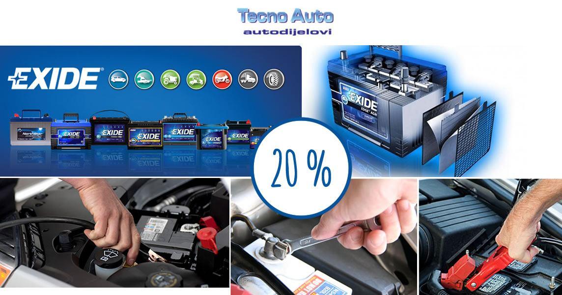20% popusta na exide akumulatore - TECNO AUTO
