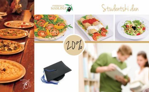 PIZZERIA MASLINA - 20% popusta za studente ponedjeljkom